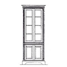 Base panel door, top straight glass door